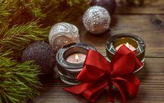Descargar fondos de pantalla De navidad, velas, conos, decoraciones de Navidad, rojo lazo de seda, Año Nuevo