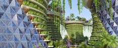 The organic, curvilinear designs of an Avatar universe may be closer than we think. Indian agroecologist Amlankusum and Paris-based Vincent Callebaut Architectures have released plans for a vertical 'eco-neighborhood' called the Jaypee Green Sports. Environmental Architecture, Environmental Design, City Living, Natural Materials, Futuristic, Contemporary Design, Avatar, Building A House, Planets