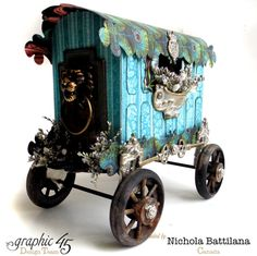 A Couture altered wagon by the incredible Nichola! Innovative, imaginative, and gorgeous altered art with Graphic 45