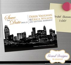 Charlotte, NC Skyline - Save the Date Magnet - Wedding Invitation