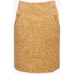 Boucle Wool Skirt Mustard Yellow Skirt Yellow Midi Skirt Yellow Pencil... ($73) ❤ liked on Polyvore featuring skirts, grey, women's clothing, mustard yellow skirt, yellow midi skirt, high waisted pencil skirt, midi skirt and striped midi skirt