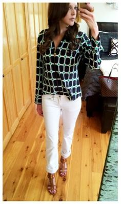 Summer office outfit - Michael Kors top and shoes paired with white jeans and gold MK jewelry