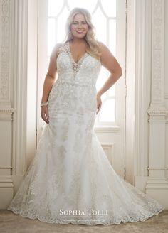fadaef892d1 Two-Piece Wedding Dress with Plunging Neckline - Y11883 Olympia