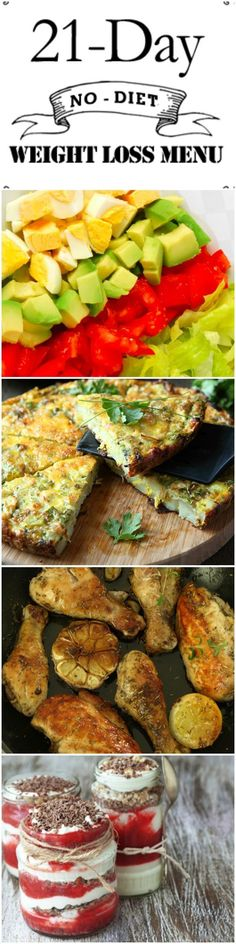 3 Week Menu for weight loss with recipes for delicious small meals and two snacks daily. 21 Day (No-Diet) Weight Loss Menu Skinny Ms. skinnyms Salad Recipes 3 Week Menu for weight loss with recipes for delicious smal