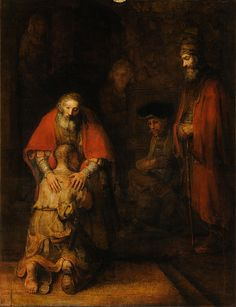 """<Redemption> [""""So this is a symbol of my taking a cross upon myself, heh, heh! That's right, I haven't suffered enough yet! Cypress, for simple folk…""""/p. 522] In the scene, Raskolnikov is a prodigal son (as depicted in the picture) that seeks to redeem himself to the Dostoevsky's 'virtue' represented by Sonya. Such action took by Raskolnikov marks a starting point to his redemption from his 'prodigal' utilitarianism to Christianity."""
