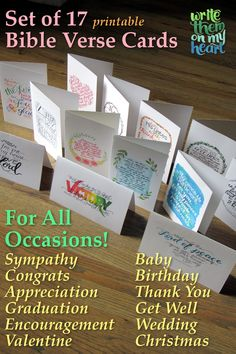 Never have to buy expensive cards again! All the occasions are covered. Just print any of these 17 cards on demand. Scripture Wall Art, Scripture Cards, Christian Cards, Christian Gifts, Christian Apparel, Online Printing Companies, Printable Bible Verses, Hostess Gifts, Teacher Gifts