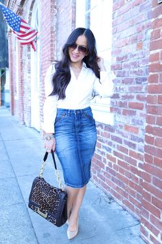 Off to find a perfectly fitted denim pencil skirt!