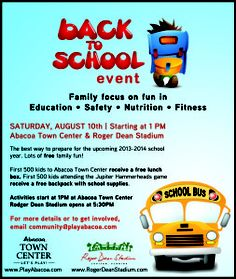 Back to School Event  | August 10th  Abacoa Town Center