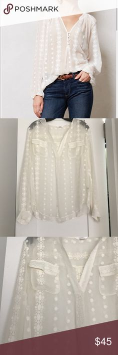 Anthropologie Zoa Blouse Beautiful white top; with pockets; 100% silk. New never worn. Size xs but fits like a small Anthropologie Tops Blouses
