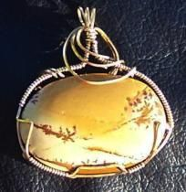 FREE S - Beautiful Handcrafted Picture Jasper Pendant in Gold - A JewelryArtistry Original - P266                         $45.98