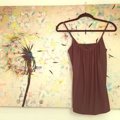 Express tank Brown with some gold sparkle. Adjustable straps & built in bra. Express Tops