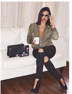 Fashion ripped black Jean Natalie Halcro