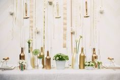 I just embarked on my first ever DIY project - gold spray painted bottles! Wedding Blog, Diy Wedding, Wedding Ideas, Cream Wedding, Spray Painted Bottles, Gold Bottles, Empty Bottles, Glass Bottles, Bottle Centerpieces