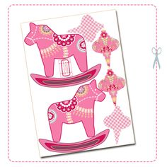 Free printable christmas ornament dala horse pink