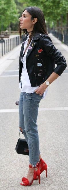 #spring #trends #fashionistas #outfitideas |Patched Biker jacket + White Shirt + Denim + Red Pompom Heels |June Sixty Five