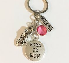 Running Charms with Birthstone Keychain, Born to Run, Running Shoe – Simple Reminders Dainty Jewelry, Simple Jewelry, Running Jewelry, Running Gifts, Gifts For Runners, Motivational Gifts, Born To Run, Bangle Bracelets With Charms, Fitness Bracelet