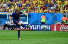 JULY 12: Daley Blind of the Netherlands scores his team's second goal during the 2014 FIFA World Cup Brazil Third Place Playoff match between Brazil and the Netherlands at Estadio Nacional on July 12, 2014 in Brasilia, Brazil.