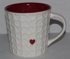 2007 Starbucks Coffee Cup Mug Red Heart Embossed Large 16-18 Oz, Red & White #Starbucks