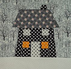 Calendar of Houses Bee: January Block  What a great idea for the studio  Quilted houses calendar