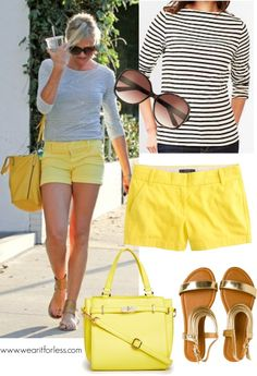 Cameron Diaz in yellow shorts and a striped top - get the look for less! www.wearitforless.com