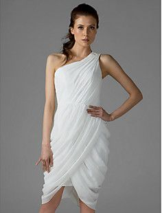 We want this dress!! rehearsal dinner :) Sheath/Column One Shoulder Knee-length Chiffon Over Mading B... – USD $ 87.29