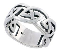 Sterling Silver Celtic Knot cut-out Men's Ring Flawless Quality 3/8 inch wide, sizes 9 to 14 Sabrina Silver. $49.95
