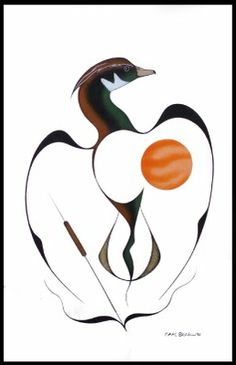 Wood Duck by Isaac Bignell, 1990 © Native Art, Native American Art, Doodle Techniques, Animal Drawings, Drawing Animals, Haida Art, Inuit Art, Animal Totems, Indigenous Art