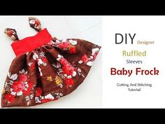 DIY Baby Frock With Ruffled Sleeves Cutting And Stitching Tutorial - YouTube