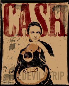 Johnny Cash man in black red wood rockabilly western rock n roll gig poster style pop art 13x19 print portrait illustration ETSY