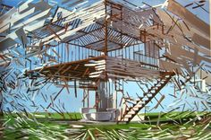 Brooklyn-based Ben Grasso paints these wonderful suspended architectural structures frozen somewhere between construction and deconstruction.