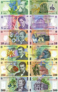 In Roemenië betalen ze nog niet met de euro, wel met de Roemeense Leu. Money Notes, Play Money, Teal Background, Show Me The Money, World Coins, European History, Coin Collecting, Colorful Backgrounds, Pop Art