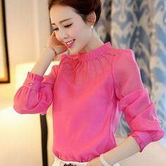 Blusas Feminina 2015 otoño invierno nueva elegante ropa las mujeres delgado se pliega blusa de gasa de manga cuello alto camisa blanca(China (Mainland))