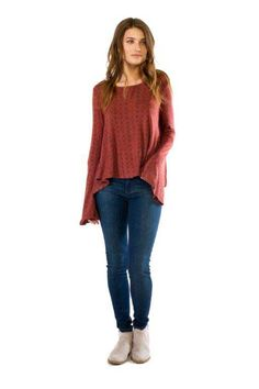Anama Clothing Textured Bell Sleeve Shirt in Rust W17-246-RUST