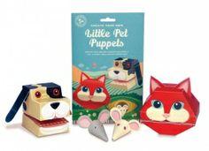 Met deze 'little pet puppets' heb je altijd een lief klein dierenvriendje om je heen! Je vouwt de hond en de kat eenvoudig in elkaar zonder een schaar of lijm nodig te hebben.  Gemaakt van gerecycled papier.