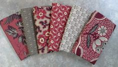 Six Fat Quarter Bundle of Chateau Rouge by French General for Moda.