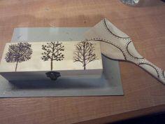 Caja y cuchara pirograbado