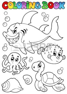Coloring book various sea animals 1 - vector illustration