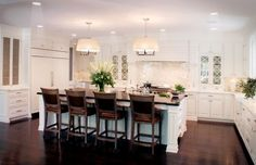 example of all cabinets same color but counter-tops different on island vs along wall