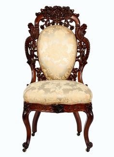 Mid 19th century John Henry Belter Rococo Revival chair.