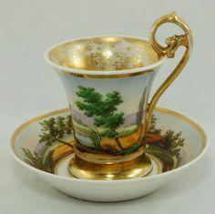 Paris Porcelain Cup and Saucer, also known as Old Paris Porcelain, Circa 1840 -
