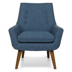 Office Star Products Rhodes Blue Fabric Chair with Coffee Legs, Navy Polyester Retro Fabric, Navy Fabric, Denim Fabric, Fabric Armchairs, Chair Fabric, Living Furniture, Furniture Sale, Freedom Furniture, Bedroom Furniture