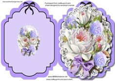 Print Cut and Fold Lovely lilac and white roses  on Craftsuprint - Add To Basket!