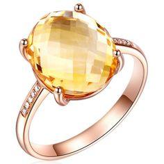 Favo - Citrine Diamond Rose Gold Ring