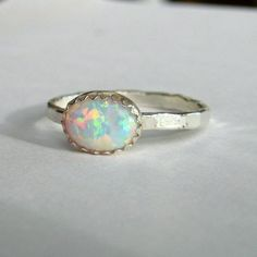 Opal ring sterling silver stacking ring October birthstone custom made. $39.00, via Etsy.