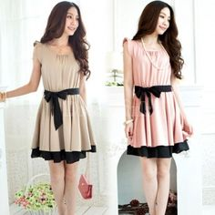 New Korean Fashion Women's Lotus Leaf Round Neck Midi Full Skirt Dress Evening Party Dresses