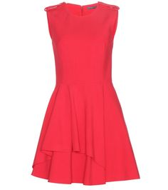 Alexander McQueen makes full use of effective, simple detailing in this red crepe dress. Shoulder panels and drapery around the full skirt stand out from the uncomplicated silhouette. Alexander Mcqueen, Luxury Fashion, Womens Fashion, Crepe Dress, Fashion Addict, Designing Women, Modern, Skirts, Tops