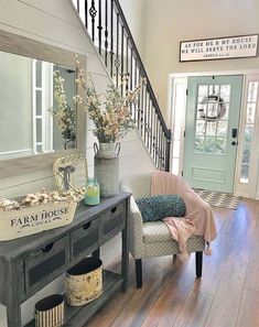 50 Modern inviting entryway ideas for home decor design - Cozy Living Home Living Room, Living Room Decor, Fresh Living Room, Living Spaces, Fresh Farmhouse, Farmhouse Homes, Modern Farmhouse Decor, Country Homes, Farmhouse Furniture