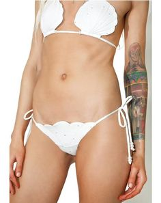 Margarita Mermaid Pegasus Bikini Bottoms cuz yer meant to be in the sea, bb. Feel those beachy vibez with these bikini bottoms that feature a shell shaped front and back, adjustable side ties, and a super cheeky booty-barin' cut.