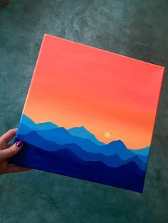Small Canvas Paintings, Easy Canvas Art, Small Canvas Art, Easy Canvas Painting, Cute Paintings, Mini Canvas Art, Diy Canvas, Sunset Acrylic Painting, Artwork Paintings
