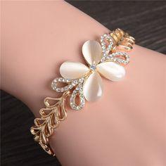 ZOSHI Brand Gold   Platinum Plated Opal Stone Bracelet   Bangle New Fashion Crystal  Jewelry Women Wedding Bracelet 2db1a00d6a72
